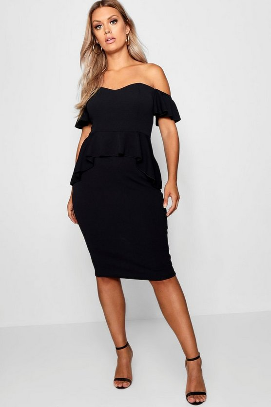 Womens Black Plus Off The Shoulder Ruffle Midi Dress