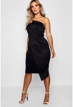 Womens Black Plus Fold Front Wrap Dress