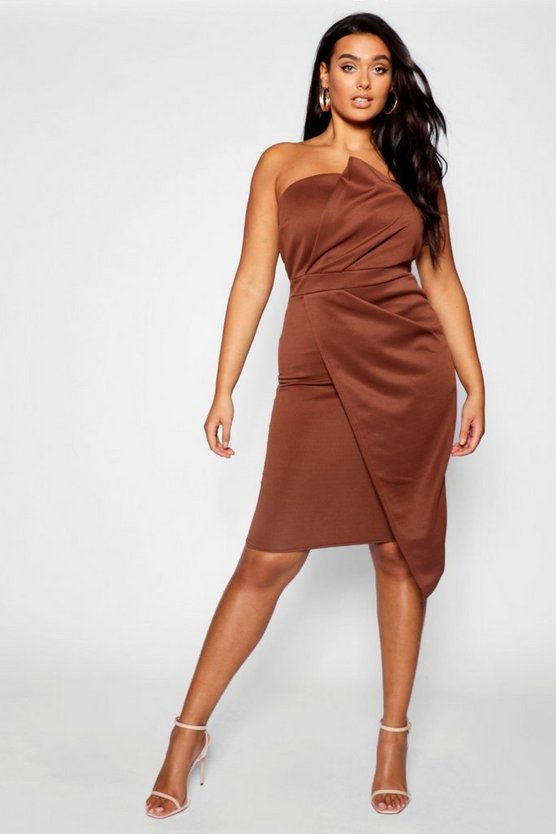 Plus Fold Front Wrap Dress, Chocolate, FEMMES