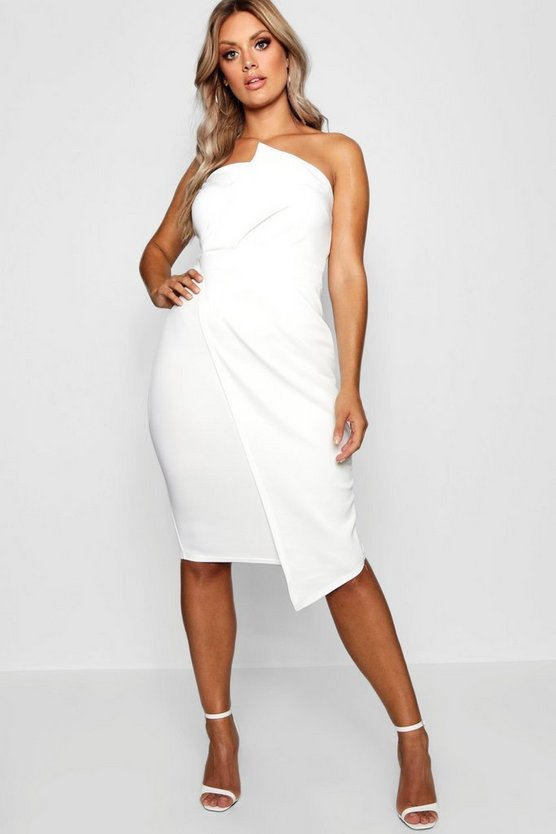 Plus Fold Front Wrap Dress