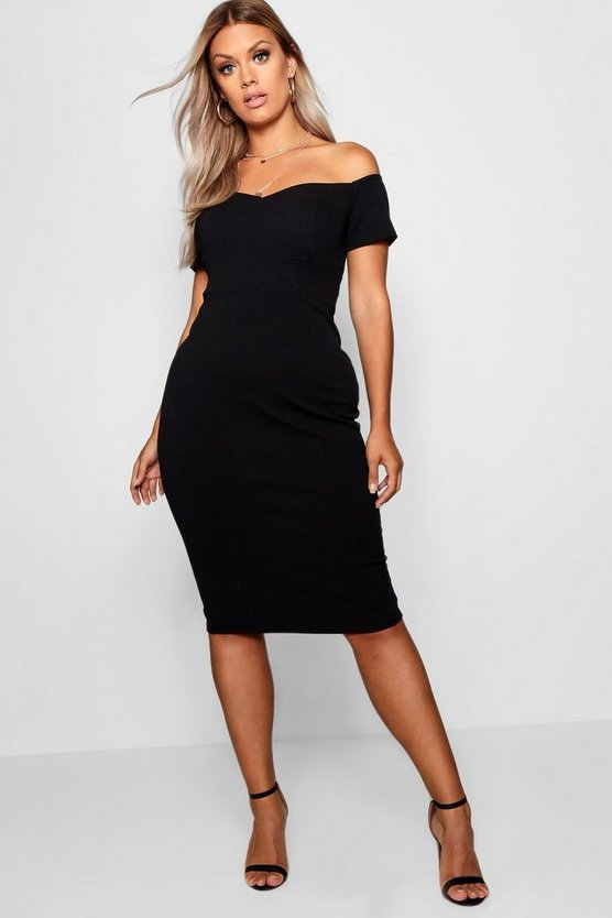 Womens Black Plus Bardot Ruched Bodycon Dress