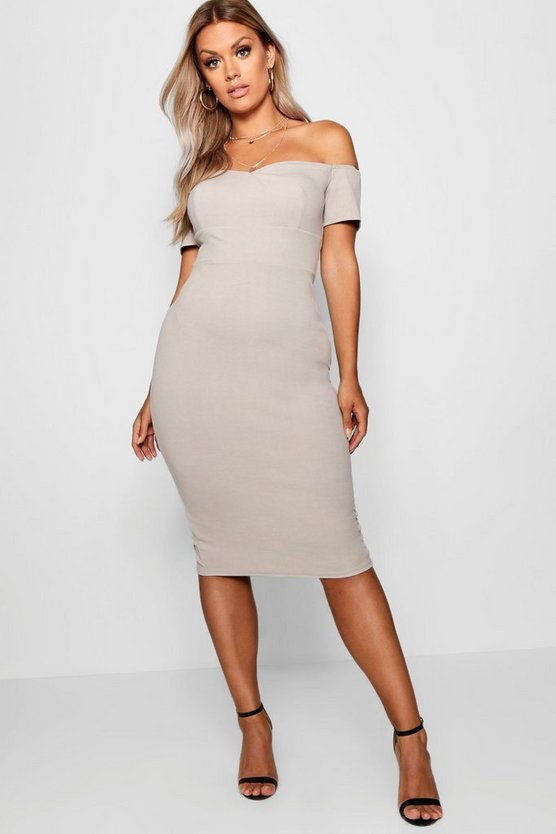 Plus Bardot Ruched Bodycon Dress