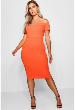 Womens Orange Plus Bardot Ruched Bodycon Dress