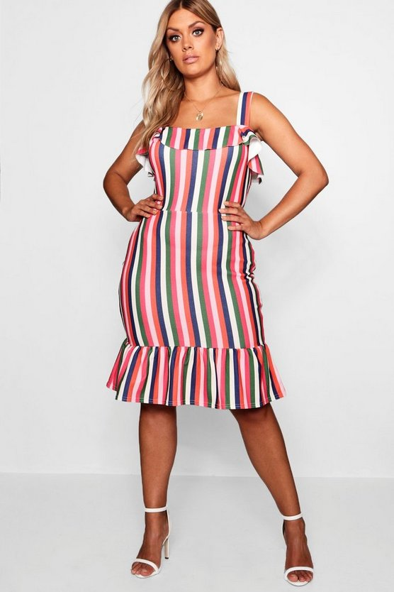 Plus Stripe Ruffle Hem Skater Dress
