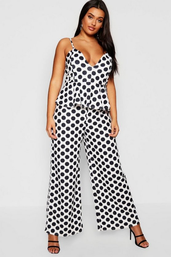 Plus Strappy Spot Peplum Jumpsuit