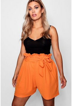 Orange Plus Paper Bag Waist Tailored Short
