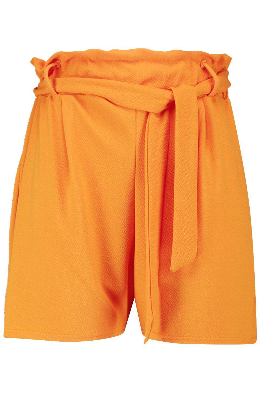 fruncida Plus cortos cintura naranja con Pantalones entallados ZvqwI