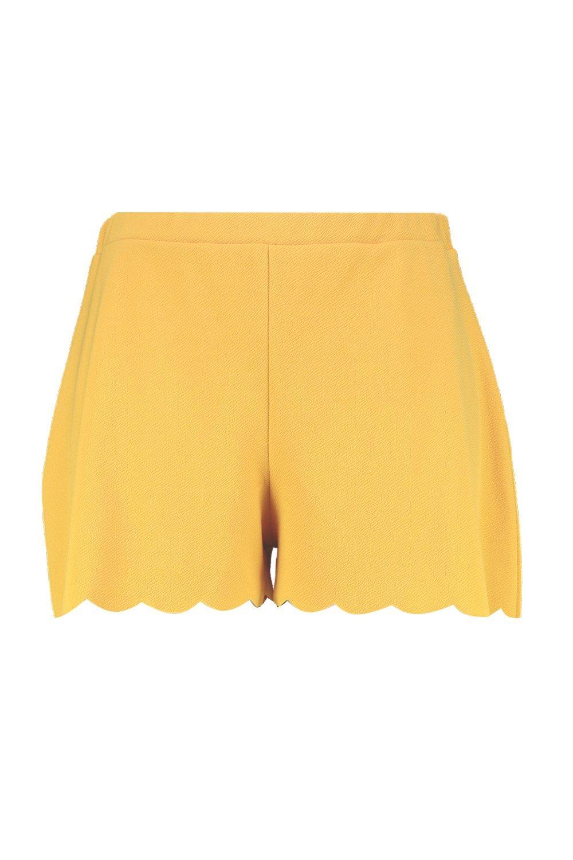 Shorts Plus mostaza festoneado con bajo entallados Yw0zrqIY
