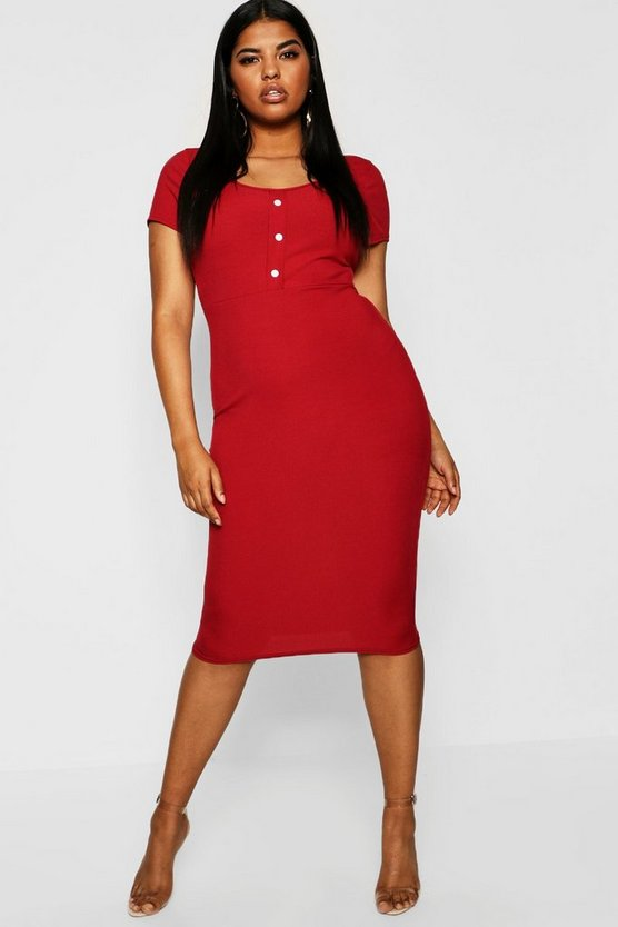 Plus Rib Button Detail Short Sleeve Midi Dress