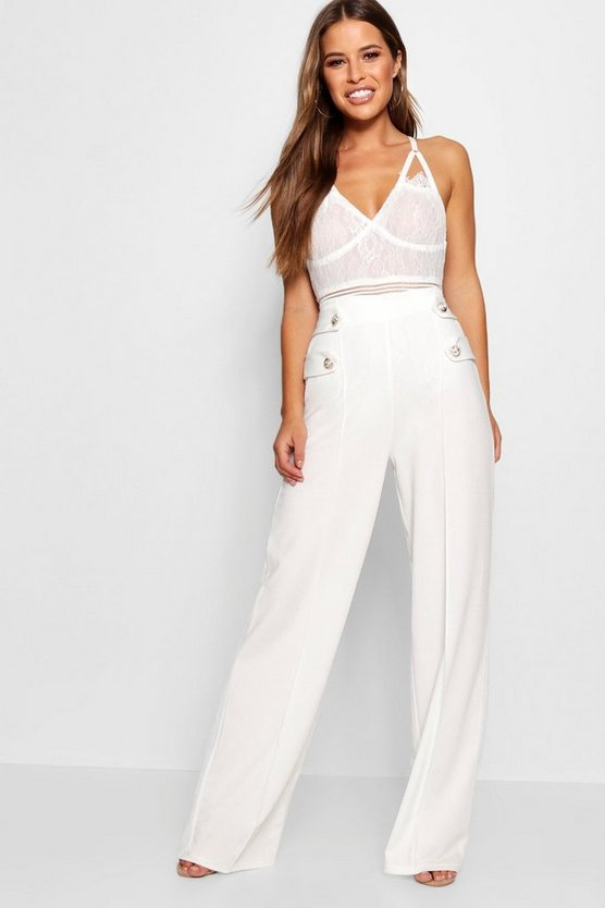 Womens White Petite Button Detail Wide Leg Pants