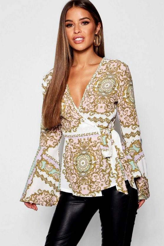 Petite Scarf Print Wrap Over Blouse