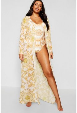 Womens Yellow Plus Chain Print Beach Maxi Kimono