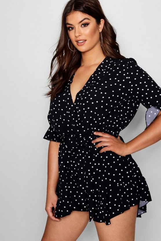 Womens Black Plus Polka Dot Ruffle Hem Playsuit