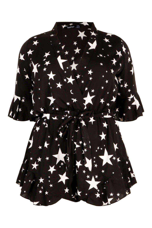 estrellas Mono y volante estampado de Plus con negro corto fggwpqxY67