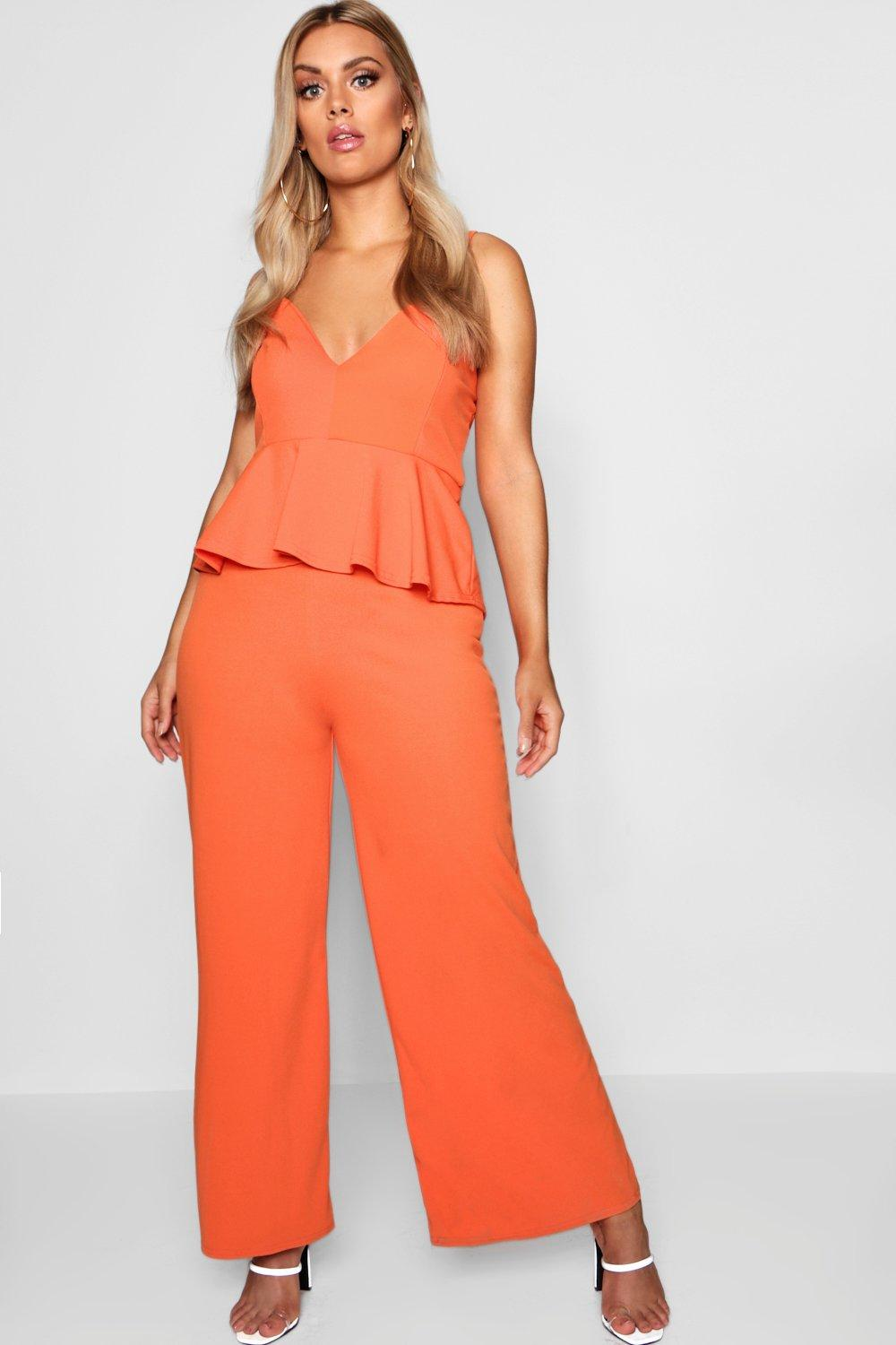 ed91208ccb5 Details about Boohoo Womens Plus Strappy Peplum Jumpsuit in Orange size 18