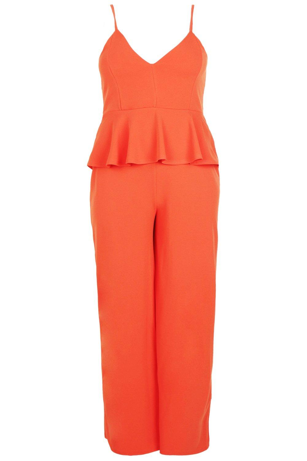 7d88c3add6d Boohoo Womens Plus Strappy Peplum Jumpsuit in Orange size 18