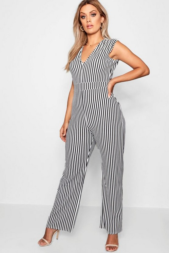 Womens Black Plus Stripe Plunge Jumpsuit