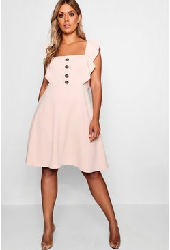 Blush Plus Horn Button Detail Ruffle Skater Dress