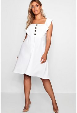 Womens White Plus Horn Button Detail Ruffle Skater Dress