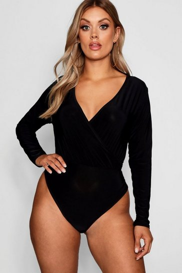 Black Plus Slinky Wrap Over Bodysuit