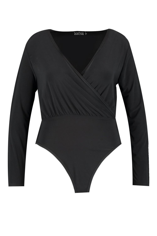 negro elegante Plus Body elegante cruzado Body qgX8Yp