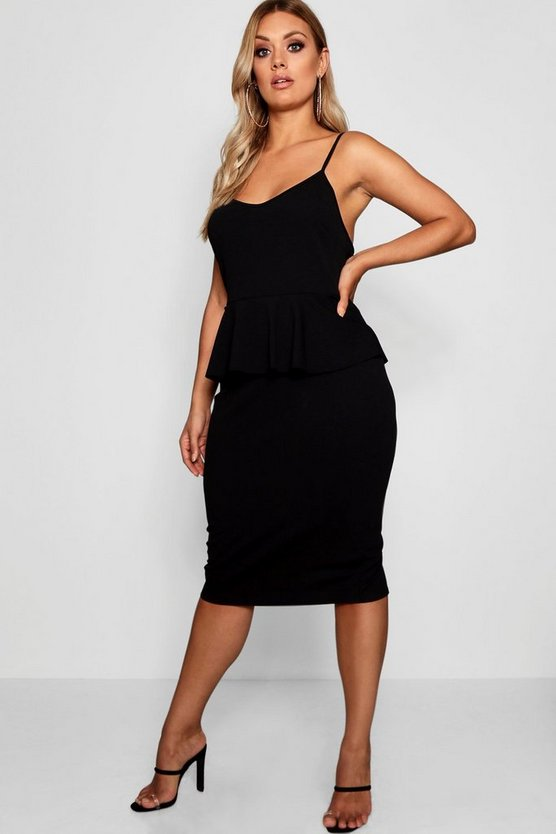 Womens Black Plus Strappy Peplum Midi Dress