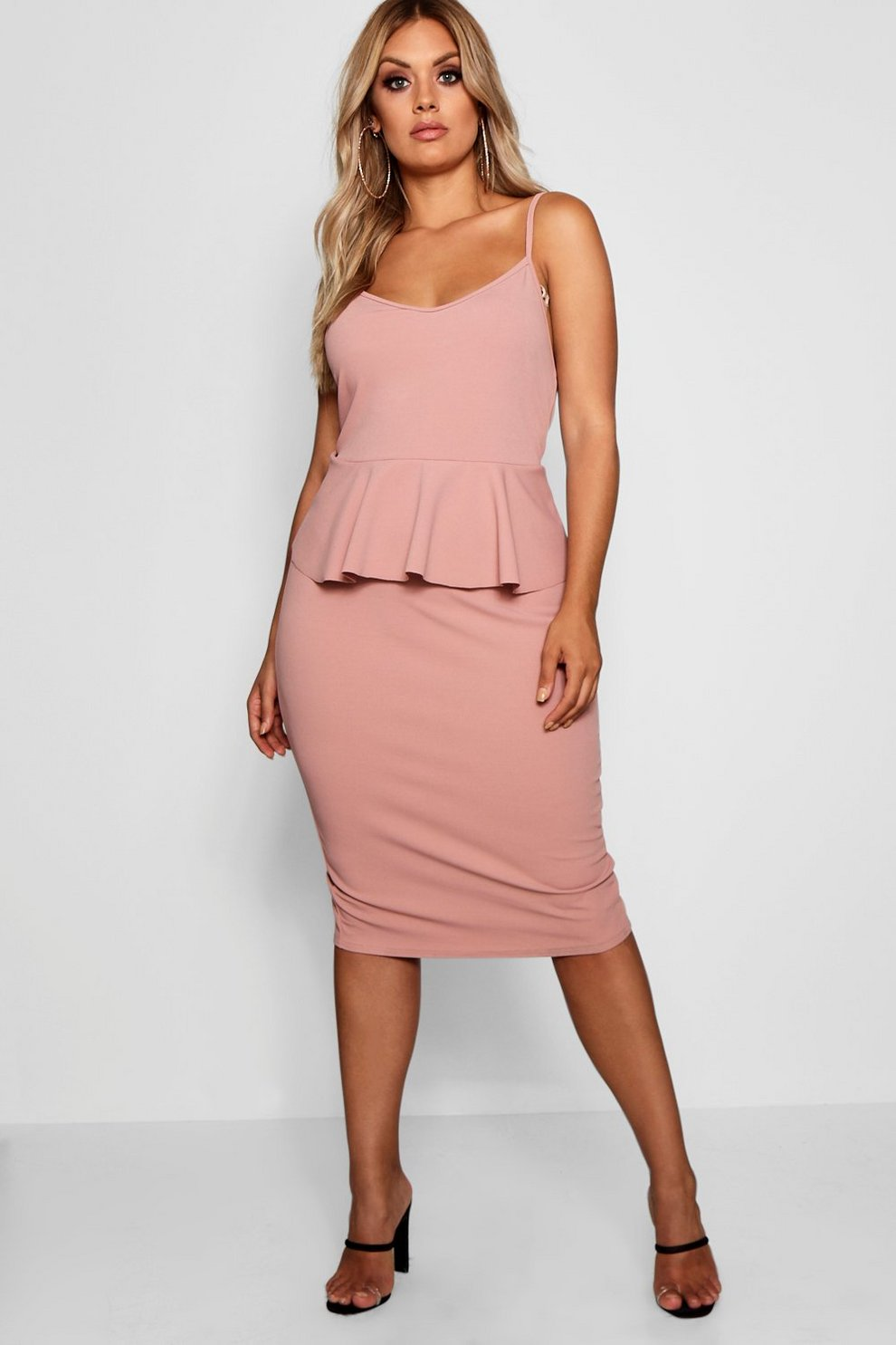 b36e070089e Plus Strappy Peplum Midi Dress