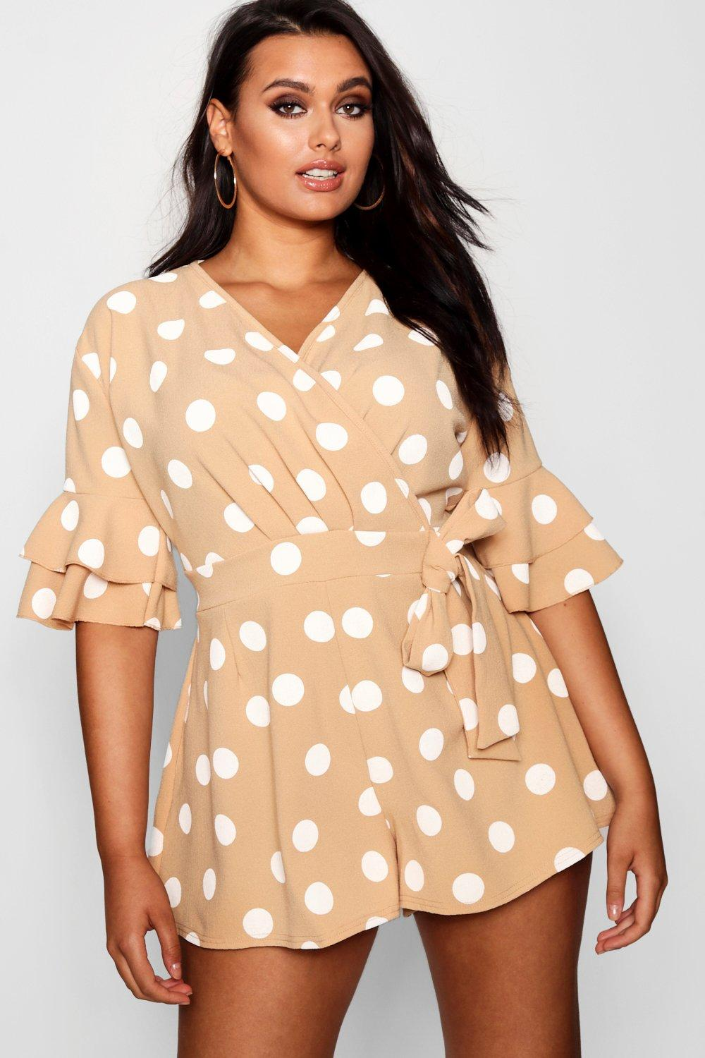 6bc58df6a5 Plus Ruffle Sleeve Polka Dot Playsuit. Hover to zoom