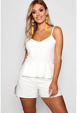 Womens Ivory Plus Strappy Peplum Playsuit