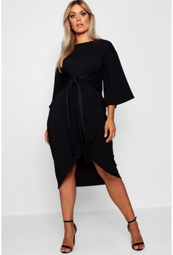 Womens Black Plus Kimono Sleeve Wrap Over Midi Dress
