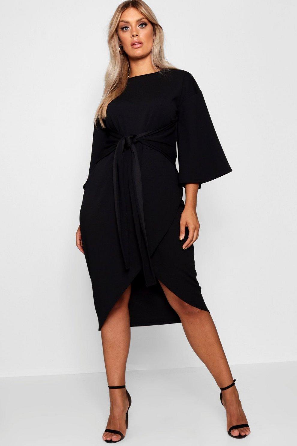 8eb5740dce07 Womens Black Plus Kimono Sleeve Wrap Over Midi Dress