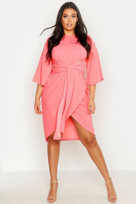 Womens Coral Plus Kimono Sleeve Wrap Over Midi Dress