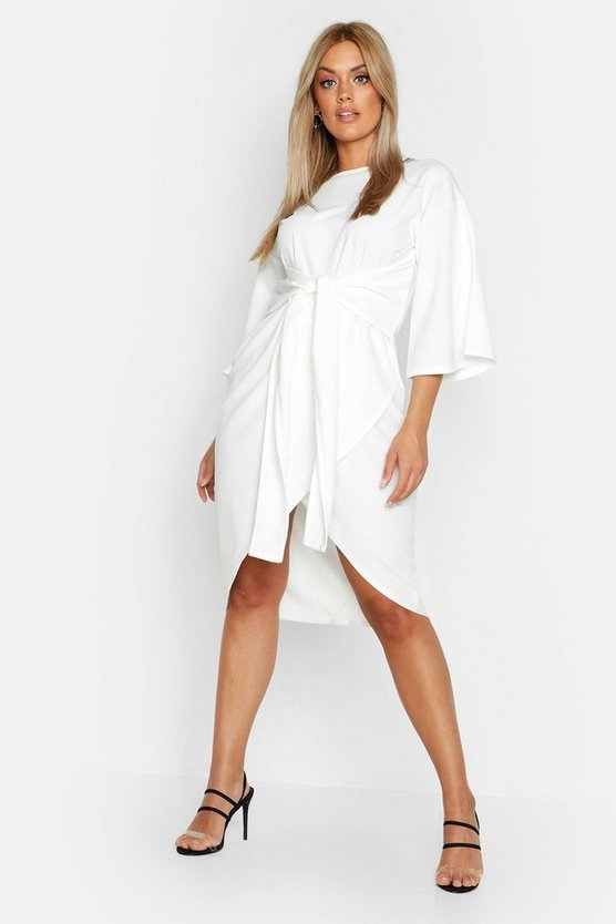 Womens Ivory Plus Kimono Sleeve Wrap Over Midi Dress