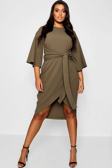 Womens Khaki Plus Kimono Sleeve Wrap Over Midi Dress