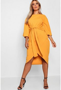 Womens Mustard Plus Kimono Sleeve Wrap Over Midi Dress