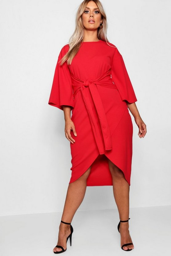 Red Plus Kimono Sleeve Wrap Over Midi Dress