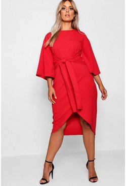 Womens Red Plus Kimono Sleeve Wrap Over Midi Dress