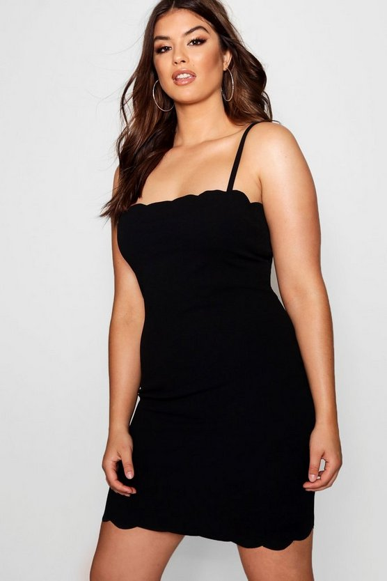 Plus Scallop Edge Bodycon Dress