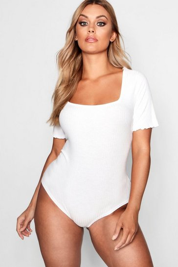 Womens Ivory Plus Square Neck Ribbed Bodysuit