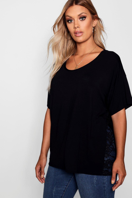 inserciones negro Camiseta Plus de con encaje Bq4x64n