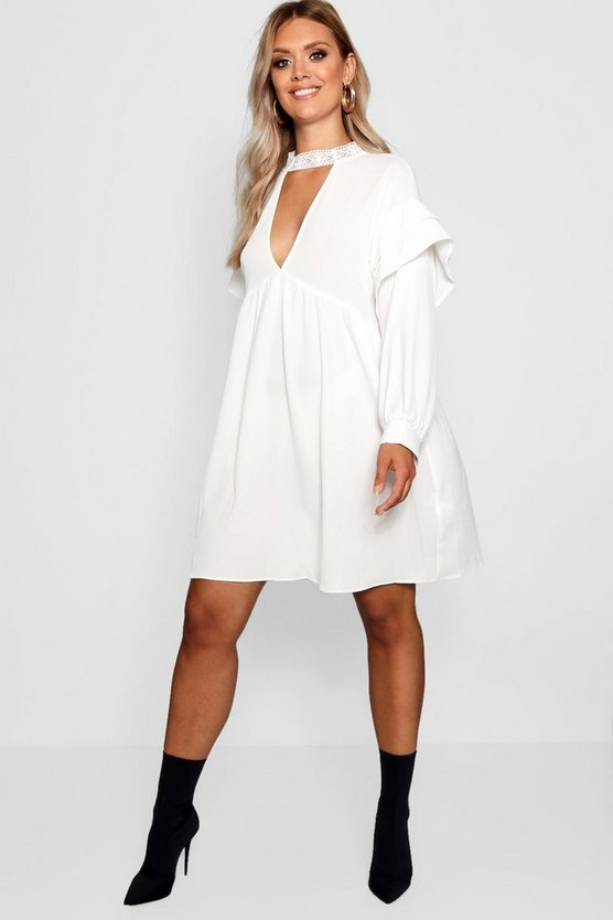 Plus Lace Choker Ruffle Smock Dress