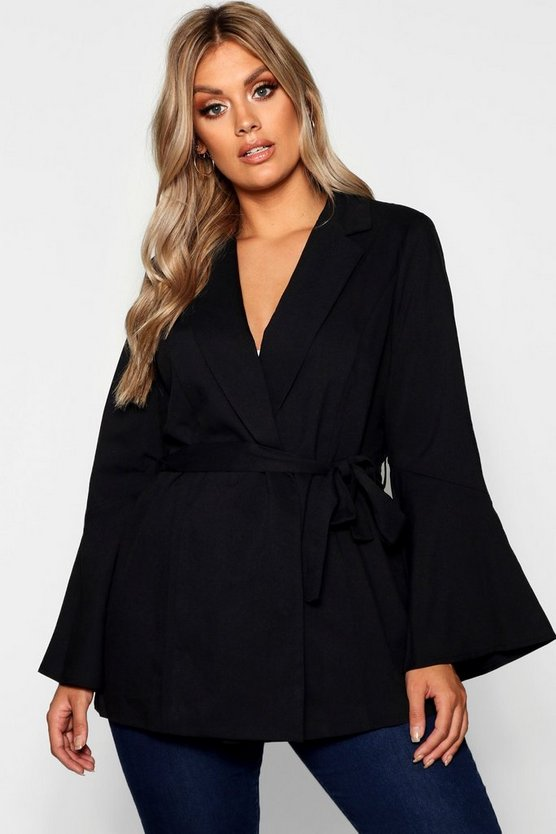 Womens Black Plus Flute Sleeve Tie Blazer