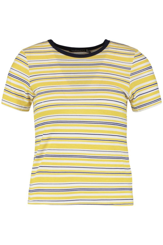 costuras rayas en a contraste mostaza con Petite Camiseta 6qxtw5SI6