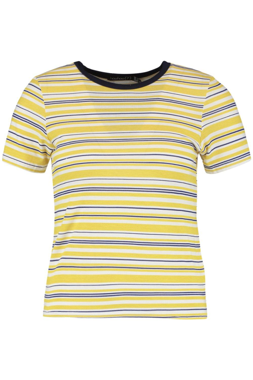 Petite mostaza contraste en costuras rayas a Camiseta con TzgfqA4PP
