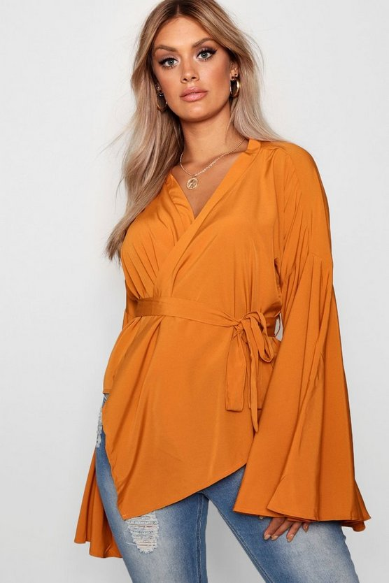 Plus Wide Sleeve Wrap Tie Blouse