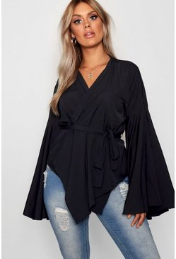 Black Plus Wide Sleeve Wrap Tie Blouse