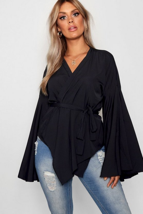 Womens Black Plus Wide Sleeve Wrap Tie Blouse