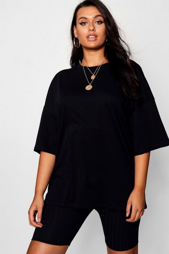 Womens Black Plus Pastel Oversized Boyfriend T Shirt
