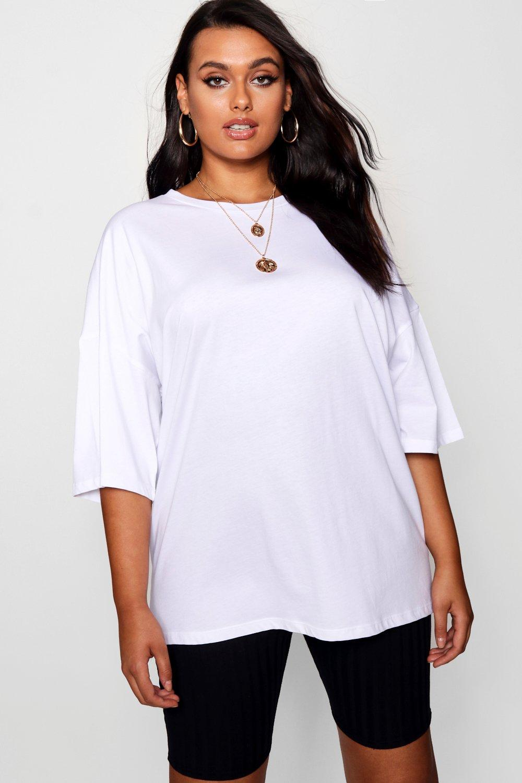 ancha estilo Boyfriend pastel Plus blanco con Camiseta lavado pA4qwx