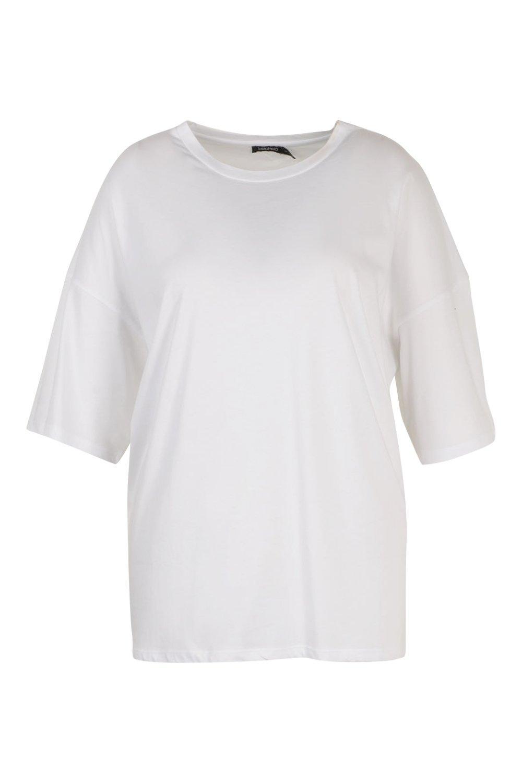 estilo lavado ancha Plus Camiseta pastel Boyfriend blanco con UHdfdwaq